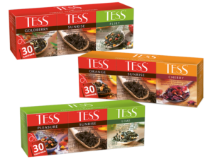 A composition of 3 kinds of Теss packaged tea